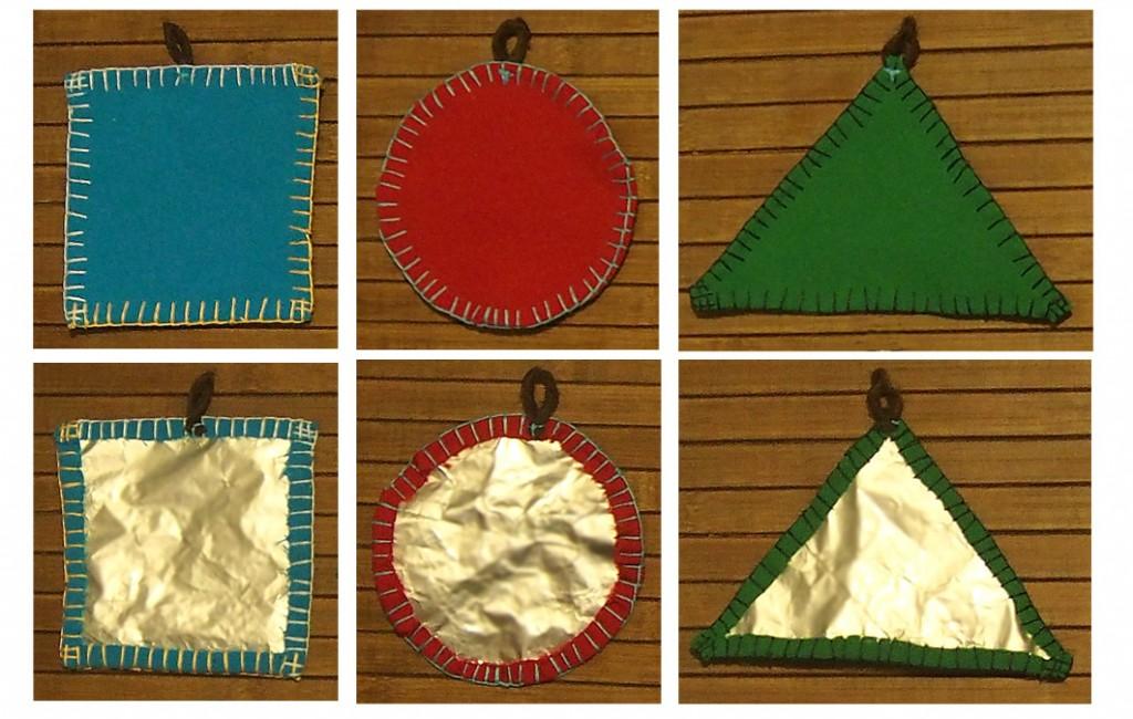 samodzielne kształty geometryczne - strona kolorowa i błyszcząca