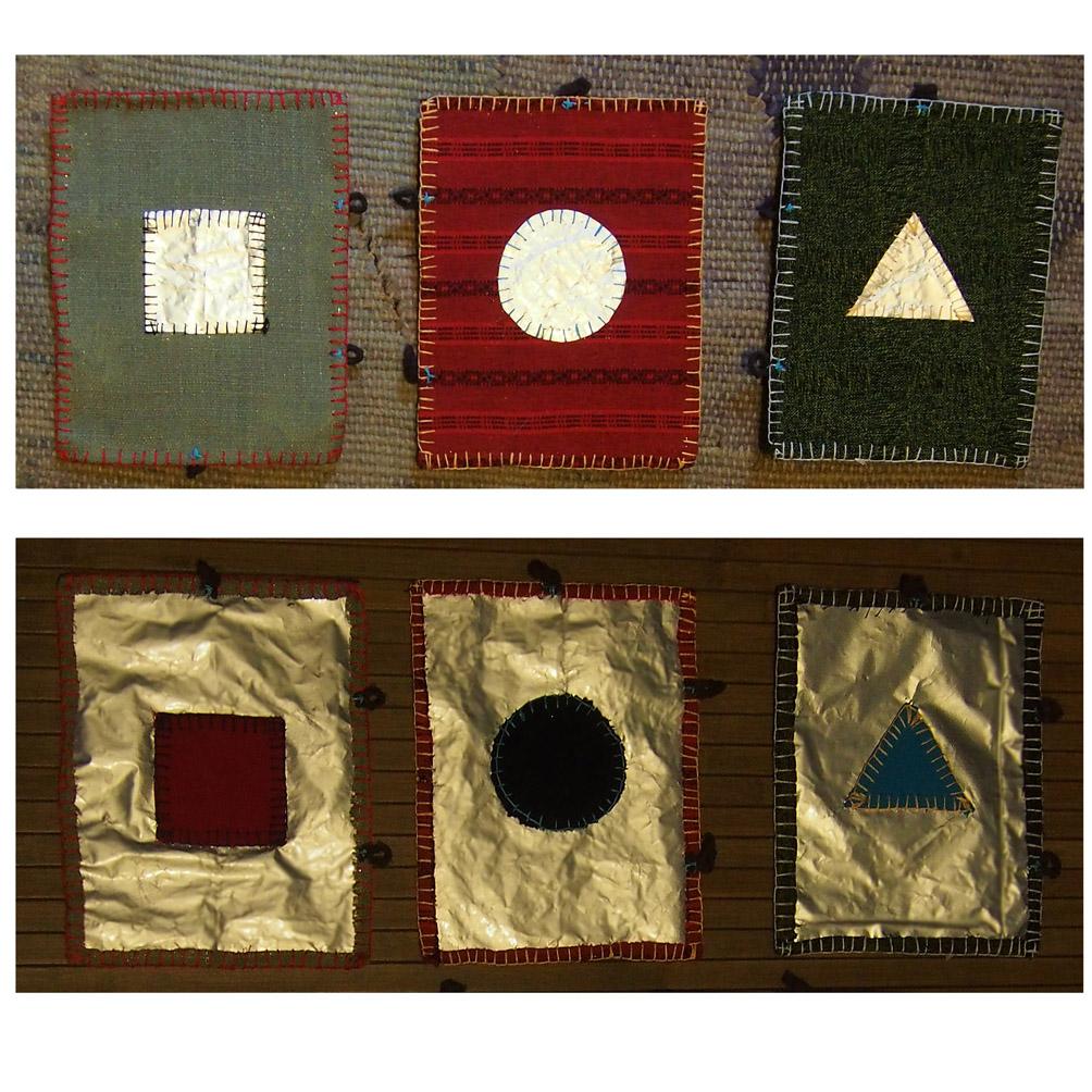 kształty geometryczne z tłem - kolorowe i błyszczące