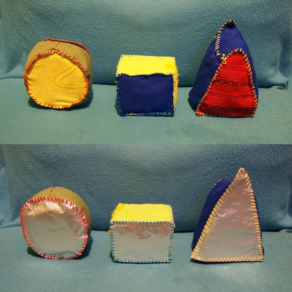 rzutki - kształty geometryczne, sensorki zapachowe - strona kolorowa i błyszczaca