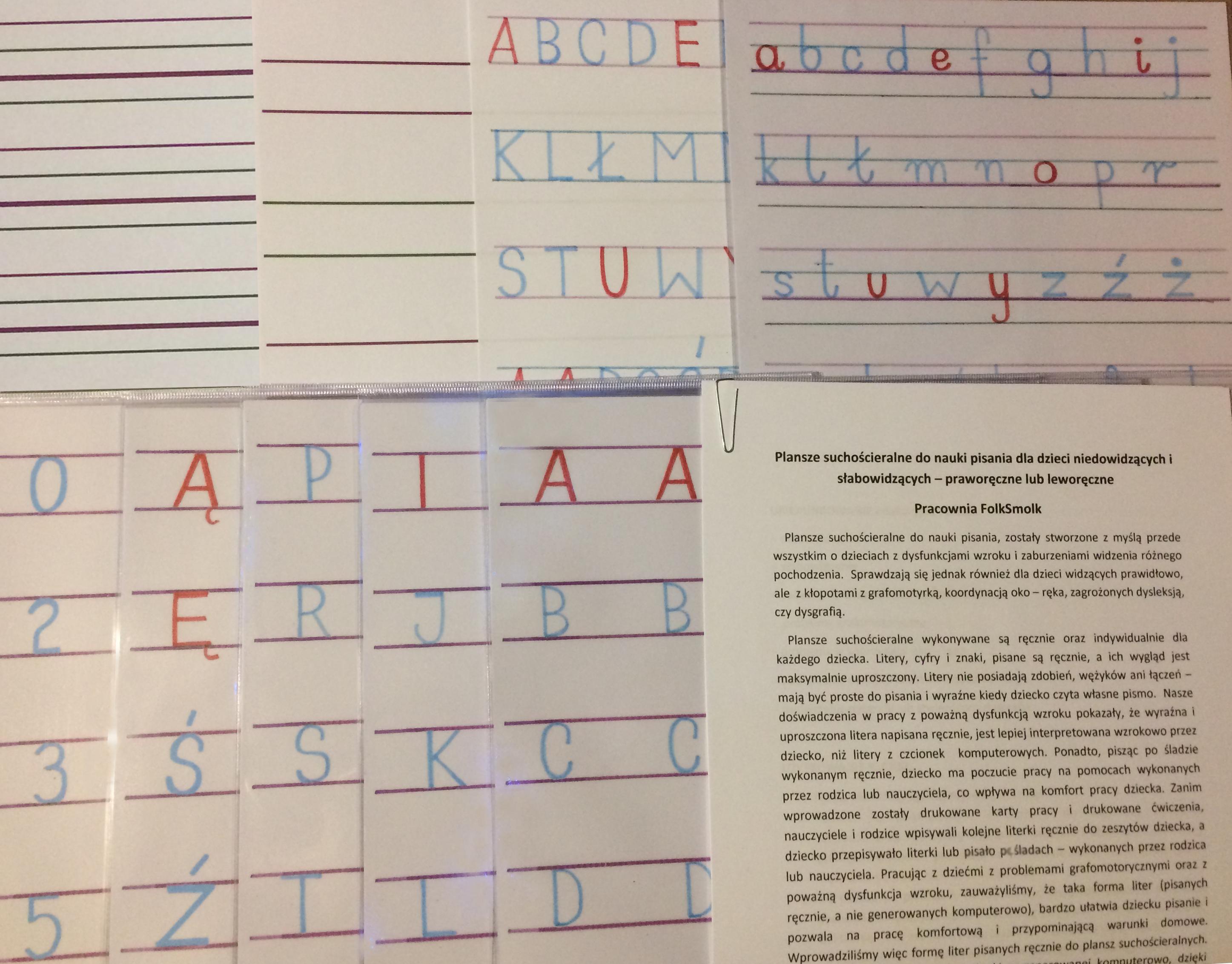 Plansze suchościeralne wielokrotnego użytku do nauki pisania – zestaw niebiesko – czerwony, cena: od 40 zł do 70 zł